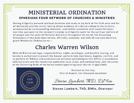 Sample EFN Ministerial Credential Certificate